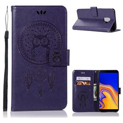 Intricate Embossing Owl Campanula Leather Wallet Case for Samsung Galaxy J6 Plus / J6 Prime - Purple