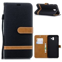 Jeans Cowboy Denim Leather Wallet Case for Samsung Galaxy J6 Plus / J6 Prime - Black