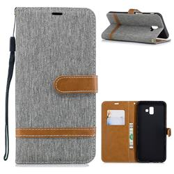 Jeans Cowboy Denim Leather Wallet Case for Samsung Galaxy J6 Plus / J6 Prime - Gray