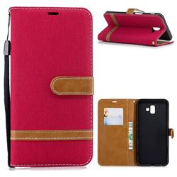 Jeans Cowboy Denim Leather Wallet Case for Samsung Galaxy J6 Plus / J6 Prime - Red