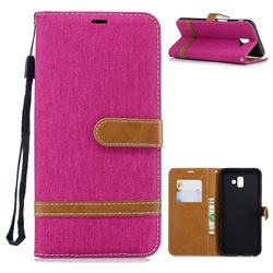 Jeans Cowboy Denim Leather Wallet Case for Samsung Galaxy J6 Plus / J6 Prime - Rose