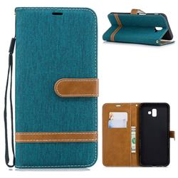Jeans Cowboy Denim Leather Wallet Case for Samsung Galaxy J6 Plus / J6 Prime - Green