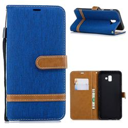 Jeans Cowboy Denim Leather Wallet Case for Samsung Galaxy J6 Plus / J6 Prime - Sapphire