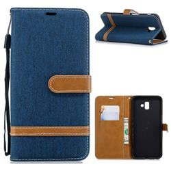 Jeans Cowboy Denim Leather Wallet Case for Samsung Galaxy J6 Plus / J6 Prime - Dark Blue