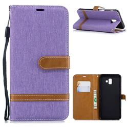 Jeans Cowboy Denim Leather Wallet Case for Samsung Galaxy J6 Plus / J6 Prime - Purple