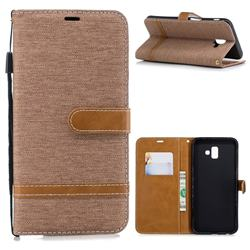 Jeans Cowboy Denim Leather Wallet Case for Samsung Galaxy J6 Plus / J6 Prime - Brown