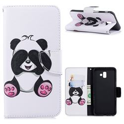 Lovely Panda Leather Wallet Case for Samsung Galaxy J6 Plus / J6 Prime