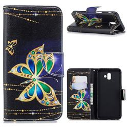 Golden Shining Butterfly Leather Wallet Case for Samsung Galaxy J6 Plus / J6 Prime