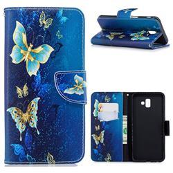 Golden Butterflies Leather Wallet Case for Samsung Galaxy J6 Plus / J6 Prime
