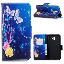 Yellow Flower Butterfly Leather Wallet Case for Samsung Galaxy J6 Plus / J6 Prime