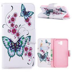 Peach Butterflies Leather Wallet Case for Samsung Galaxy J6 Plus / J6 Prime