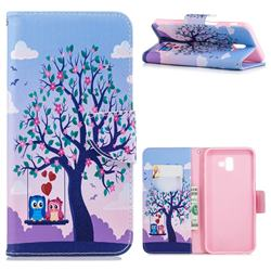 Tree and Owls Leather Wallet Case for Samsung Galaxy J6 Plus / J6 Prime