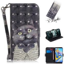 Cat Embrace 3D Painted Leather Wallet Phone Case for Samsung Galaxy J6 Plus / J6 Prime