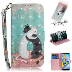 Black and White Cat 3D Painted Leather Wallet Phone Case for Samsung Galaxy J6 Plus / J6 Prime
