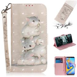 Three Squirrels 3D Painted Leather Wallet Phone Case for Samsung Galaxy J6 Plus / J6 Prime