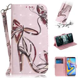 Butterfly High Heels 3D Painted Leather Wallet Phone Case for Samsung Galaxy J6 Plus / J6 Prime