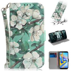 Watercolor Flower 3D Painted Leather Wallet Phone Case for Samsung Galaxy J6 Plus / J6 Prime