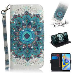 Peacock Mandala 3D Painted Leather Wallet Phone Case for Samsung Galaxy J6 Plus / J6 Prime