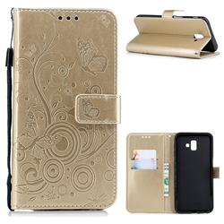 Intricate Embossing Butterfly Circle Leather Wallet Case for Samsung Galaxy J6 Plus / J6 Prime - Champagne