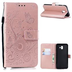 Intricate Embossing Butterfly Circle Leather Wallet Case for Samsung Galaxy J6 Plus / J6 Prime - Rose Gold