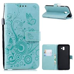 Intricate Embossing Butterfly Circle Leather Wallet Case for Samsung Galaxy J6 Plus / J6 Prime - Cyan