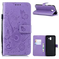 Intricate Embossing Butterfly Circle Leather Wallet Case for Samsung Galaxy J6 Plus / J6 Prime - Purple