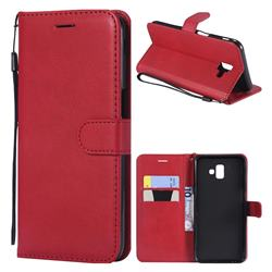 Retro Greek Classic Smooth PU Leather Wallet Phone Case for Samsung Galaxy J6 Plus / J6 Prime - Red