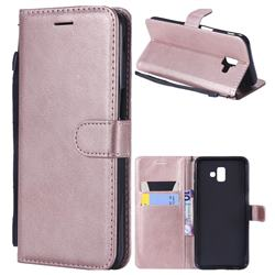Retro Greek Classic Smooth PU Leather Wallet Phone Case for Samsung Galaxy J6 Plus / J6 Prime - Rose Gold