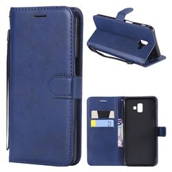 Retro Greek Classic Smooth PU Leather Wallet Phone Case for Samsung Galaxy J6 Plus / J6 Prime - Blue
