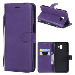Retro Greek Classic Smooth PU Leather Wallet Phone Case for Samsung Galaxy J6 Plus / J6 Prime - Purple