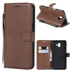 Retro Greek Classic Smooth PU Leather Wallet Phone Case for Samsung Galaxy J6 Plus / J6 Prime - Brown