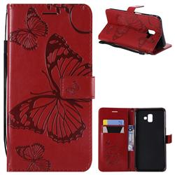 Embossing 3D Butterfly Leather Wallet Case for Samsung Galaxy J6 Plus / J6 Prime - Red