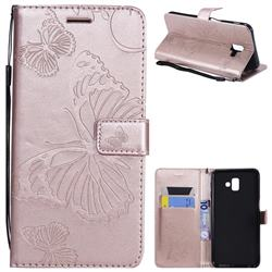 Embossing 3D Butterfly Leather Wallet Case for Samsung Galaxy J6 Plus / J6 Prime - Rose Gold