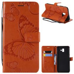 Embossing 3D Butterfly Leather Wallet Case for Samsung Galaxy J6 Plus / J6 Prime - Orange
