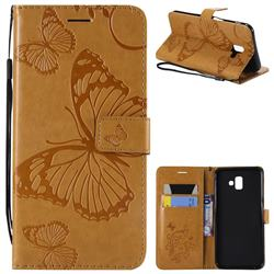 Embossing 3D Butterfly Leather Wallet Case for Samsung Galaxy J6 Plus / J6 Prime - Yellow