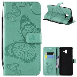Embossing 3D Butterfly Leather Wallet Case for Samsung Galaxy J6 Plus / J6 Prime - Green