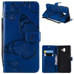 Embossing 3D Butterfly Leather Wallet Case for Samsung Galaxy J6 Plus / J6 Prime - Blue