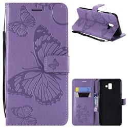 Embossing 3D Butterfly Leather Wallet Case for Samsung Galaxy J6 Plus / J6 Prime - Purple