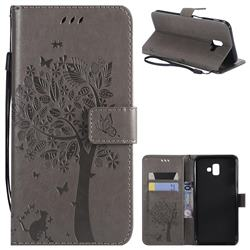 Embossing Butterfly Tree Leather Wallet Case for Samsung Galaxy J6 Plus / J6 Prime - Grey