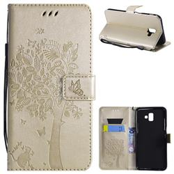 Embossing Butterfly Tree Leather Wallet Case for Samsung Galaxy J6 Plus / J6 Prime - Champagne