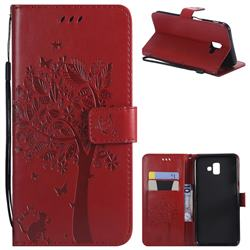 Embossing Butterfly Tree Leather Wallet Case for Samsung Galaxy J6 Plus / J6 Prime - Red