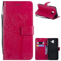 Embossing Butterfly Tree Leather Wallet Case for Samsung Galaxy J6 Plus / J6 Prime - Rose