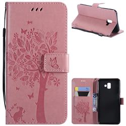 Embossing Butterfly Tree Leather Wallet Case for Samsung Galaxy J6 Plus / J6 Prime - Pink