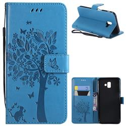 Embossing Butterfly Tree Leather Wallet Case for Samsung Galaxy J6 Plus / J6 Prime - Blue
