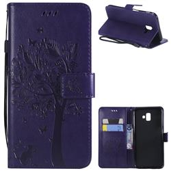 Embossing Butterfly Tree Leather Wallet Case for Samsung Galaxy J6 Plus / J6 Prime - Purple