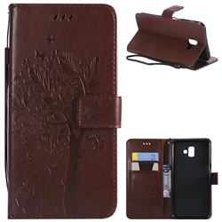 Embossing Butterfly Tree Leather Wallet Case for Samsung Galaxy J6 Plus / J6 Prime - Coffee
