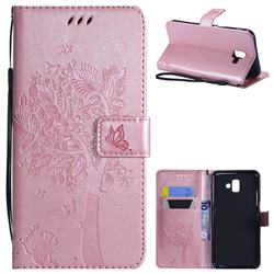 Embossing Butterfly Tree Leather Wallet Case for Samsung Galaxy J6 Plus / J6 Prime - Rose Pink