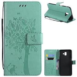 Embossing Butterfly Tree Leather Wallet Case for Samsung Galaxy J6 Plus / J6 Prime - Cyan
