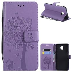 Embossing Butterfly Tree Leather Wallet Case for Samsung Galaxy J6 Plus / J6 Prime - Violet
