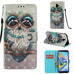 Sweet Gray Owl 3D Painted Leather Wallet Case for Samsung Galaxy J6 Plus / J6 Prime